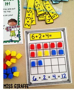 Adding 3 Numbers centers and ideas!! Great blog post with a lot of tips for 3 addends practice!