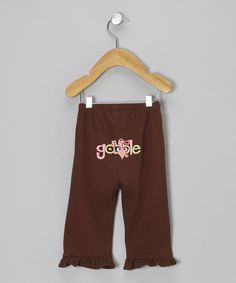 Take a look at this Petunia Petals Brown Turkey Pants - Infant on zulily today!