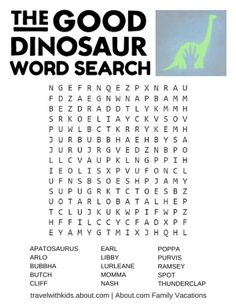 Taking a Disney vacation with kids? Here are free printable word searches, word scrambles, mazes, and other Disney-themed games and activities.: Disney's The Good Dinosaur Word Search