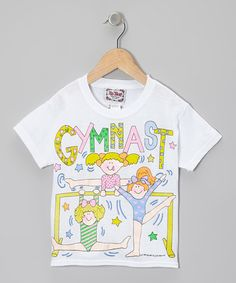 Take a look at this White 'Gymnast' Tee - Toddler & Girls by I'm Yours on #zulily today!