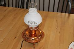 Vintage Table Lamp Working Copper Table Lamp with by CurranStudios