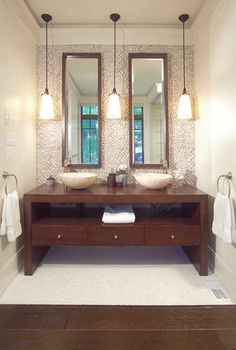 How Tall Mirrors Let You Lift Your Ceiling w/o Literally Raising The Roof ➤ http://CARLAASTON.com/designed/tall-luxury-bathroom-mirror