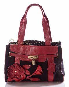 Moschino Cheap and Chic Black Canvas Red Leather Flower Satchel Handbag #GidgetLovesFashion #Moschino #Handbag #Red