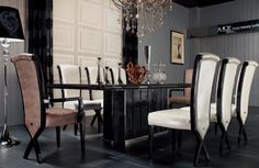 Modern Lacquer Dining Table set furniture in Black -- Features: Rectangular, table top with coated glossy lacquer over stained oak wood -- http://www.lafurniturestore.com