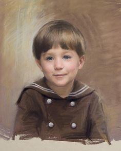 Wonderful pastel head & shoulders portrait of a boy by a Portraits, Inc. artist