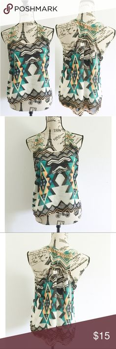 """Bold Tribal Print Semi Sheer Tank ✦   ✦{I am not a professional photographer, actual color of item may vary ➾slightly from pics}  ❥chest:17.5"""" ❥waist:20"""" ❥length:20.5""""/22.5"""" ❥approx measurements taken flat in inches ➳material/care:no tag, probably polyester  ➳fit:true  ➳condition:gently used   ✦20% off bundles of 3/more items ✦No Trades  ✦NO HOLDS ✦No transactions outside Poshmark  ✦No lowball offers/sales are final Teenbell  Tops Tank Tops"""