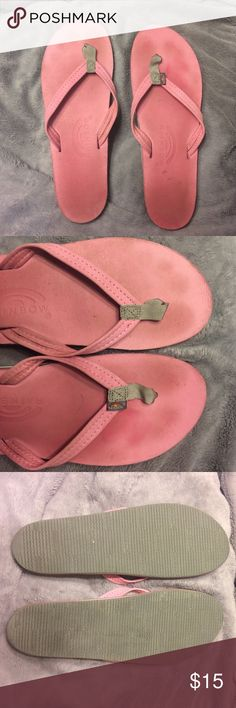 "Rainbow sandals. Pink leather. Size 7.5/8.5 Pink leather rainbow sandals. These are 10.5"" so 7.5/8.5. These have been worn a handful of times as you can see foot imprints but still in overall good condition. Definitely lots and lots of wear left! Rainbow Shoes Sandals"