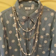 Sharp Polka Dots Blouse Tie Front - Light Blue / White Like new! Cato Tops