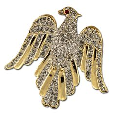 Elegant Eagle Brooch/Pin - This beautiful Eagle Brooch/Pin includes goldplate and crystals.  Price: $30.00  http://www.starsandstripesproducts.com/elegant-eagle-brooch-pin/ #eagle pin #eagle brooch