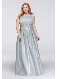 76f4f1ab55194 Lace and Satin Sleeveless Plus Size Ball Gown WBM1118W Davids Bridal  Bridesmaid Dresses