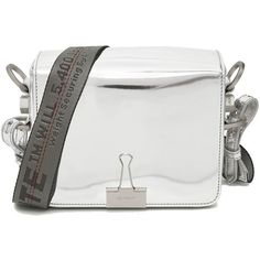 Off-White Women's Silver Leather Shoulder Bag (1,375 CAD) ❤ liked on Polyvore featuring bags, handbags, shoulder bags, silver, genuine leather shoulder bag, shoulder strap bags, silver leather handbags, handbag purse and hand bags