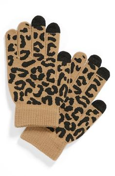 I NEED THESE SO BADLY!!! Lulu Animal Print Tech Gloves (Juniors) available at #Nordstrom