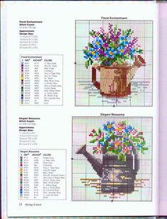 Cross-stitch Floral Watering Cans, part 123 Cross Stitch, Cross Stitch Kitchen, Cross Stitch Books, Cross Stitch Cards, Cross Stitch Alphabet, Cross Stitch Flowers, Cross Stitch Designs, Cross Stitching, Cross Stitch Embroidery