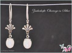 Ohrhänger - Art Deco Vintage Glas Ohrhänger oval silber weiß  - ein Designerstück von Zauberhafte-Ohrringe-in-Silber bei DaWanda