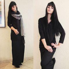 Accessorize Grey Scarf, Romwe Black Peach Like Dress, Zara Black Pants, Arezzo Black Leather Boots, Mystic Accessories Stone Ring