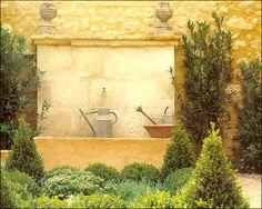 rough luxe: My Favorite Garden Rooms & Inspiration Garden Features, Water Features, Rustic Gardens, Outdoor Gardens, Garden Inspiration, Room Inspiration, Garden Ideas, Garden Fountains, Garden Structures
