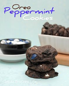 OREO PEPPERMINT COOKIES- 1/2 c. butter, softened  1/2 c. brown sugar  1/4 c. sugar  1/2 tsp. baking powder  1 c. flour  1/4 c. dark cocoa powder  1 egg  2 c. oreo cookie chunks  1 c. peppermint patty pieces(the chocolate candies, not the actual patties)