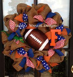 Florida Football wreath in burlap with large football, chevron and burlap ribbons  Jayne's Wreath Designs on fb