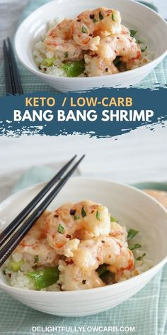 This Keto Bang Bang Shrimp is simple to make and full of flavor, with a spicy copycat Bang Bang Sauce and less than 1 net carb per serving. | Keto Recipes | Keto Dinner Recipes | Keto Lunch Recipes | Low Carb Recipes | Keto Shrimp Best Low Carb Recipes, Best Dinner Recipes, Entree Recipes, Fish Recipes, Lunch Recipes, Beef Recipes, Shrimp Recipes, Bang Bang Shrimp, Recipe Creator