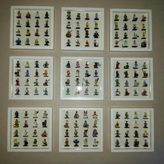 "Here's how we display all the Lego mini figures Series 1-9 Ikea frames are perfect for displaying Lego, I think they were about £12 a frame? I wasn't sure about having Lego on the wall to start with...but now it's finished I think they look awesome ("",)"