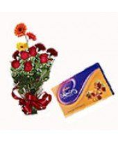 Chocolate Flower Zeal Mixed Seasonal Flower Bouquet (Consisting of 4 Roses, 3 Gerberas, 2 Carnations with Filler Flowers) and cadbury celebration pack gms Romantic Valentines Day Ideas, Chocolate Flowers, Seasonal Flowers, Wedding Anniversary Gifts, Flower Delivery, My Flower, Valentine Day Gifts, Special Day
