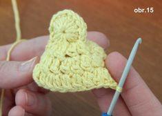 Urobíme telo kuriatka tak, že znovu do každého očka predchádzajúcej rady urobíme 2 dl. stĺpiky Easter Crochet, Fingerless Gloves, Arm Warmers, Elsa, Cook, Recipes, Crochet Decoration, Tejidos, Tricot