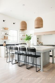 This dream kitchen created by Mollie of Design Loves Detail, has European undertones mixed with organic elements for a fresh modern style!
