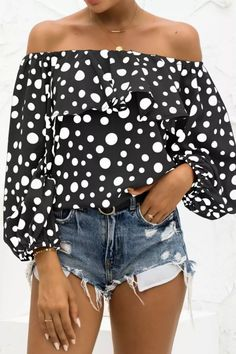 New Sexy Off Shoulder Crop Tops Women Autumn Polka Dot Print Puff Long Sleeve Shirts Lady Casual Slash Neck Ruffle Beach Blouse Off Shoulder Crop Top, Old Models, Polka Dot Print, Blouse Designs, Sleeve Styles, Blouses For Women, Long Sleeve Shirts, Fashion Outfits, Crop Tops