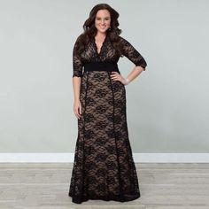 Women's Plus Size Lace Winter Gown Dress