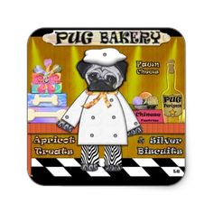 Pug Bakery Square Stickers by LauraBarbosaArt