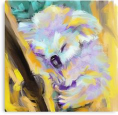 Colourful iPad painting of a lovely koala. / Collection: Wildlife Art / Cuddle Koala / © Go van Kampen • Also buy this artwork on wall prints, apparel, kids clothes, and more.