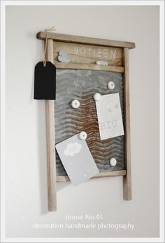 ♕ cute idea ~ washboard with bottle-top magnets