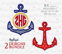 You will receive TWO separate designs. :) - Split Anchor Applique (5 Sizes) - Full Anchor Applique (5 Sizes)  PLUS...  If you do not have embroidery editing software, no problem. Included in the instant download are instructions on how to download FREE SOFTWARE for Windows and Mac OSX.