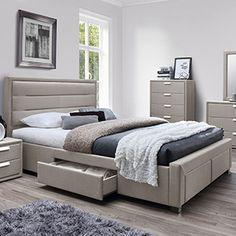 Marietta Fabric Upholstered Queen Bed with 4 Drawers Bed Headboard Design, Room Design Bedroom, Bedroom Furniture Design, Bed Furniture, Indian Bedroom Decor, Home Decor Bedroom, Modern Bedroom, Messy Bedroom, Luxury Kitchen Design