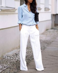 white pants and chambray