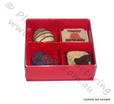 Chocolate Box Four Cavity with Red Base and Clear Lid