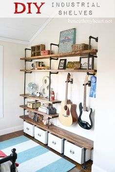 decor, industri shelv, craft, idea, build industri, shelves, hous, diy, room