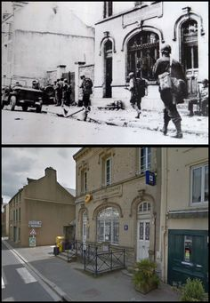 Members of the US Infantry Division passing in front of the post office in La Haye-du-Puits., Normandy 1944 which remains a post office today Ww2 Photos, History Photos, D Day Normandy, Operation Market Garden, Then And Now Photos, Foto Poster, War Image, Powerful Images, World War One
