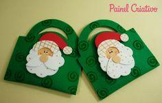 Como fazer lembrancinha natal sacolinha papai Noel EVA porta guloseimas escola crianças