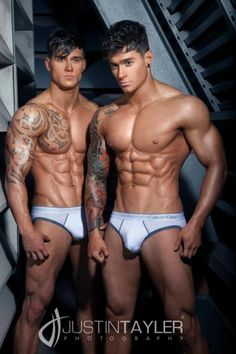 Owen and Lewis Harrison (born September 13 1990) are twin brothers from the United Kingdom, 21 years old, and stunning newcomers in the world of fitness modeling. Their first professional shoot is a new masterpiece of photographer Justin Tayler.