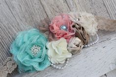 Stunning cream aqua and coral maternity sash/lace by bowsbands, $30.00