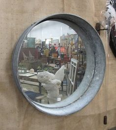 Mirror in the galvanized basin - brilliant! Sassytrash