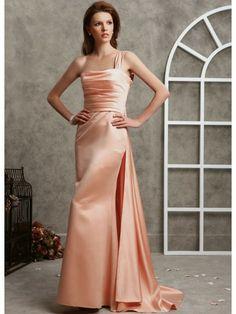 Duchess Satin Single Shoulder Neckline Ruched Bodice A-line Prom Dress