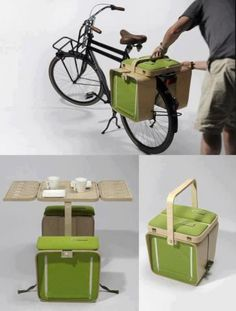 Bike Rack Picnic Basket With Table and Chairs