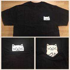 Cat Middle Finger Pocket T Shirt by CraftyLittleBug on Etsy