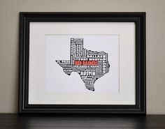 TEXAS RED RAIDERS Cities Collage Print (Customize or Choose Your Own State)