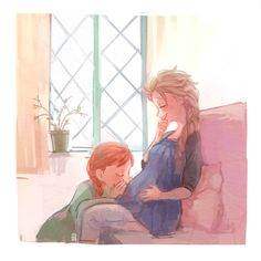 "Anna and Elsa from ""Frozen"" - Art by akapost.tumblr.com - Imagine, after the events of the movie, that Elsa is now married and pregnant. Anna would be such an enthusiastic, loving, all-around-sweet auntie :)"