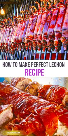 Lechon is to celebration as to beer is for drinking parties. From Fiestas, Noche Buena, weddings and almost any occasion is never ever going to be complete without Lechon. It always manages to make an (Filipino Christmas Recipes) Filipino Dishes, Filipino Recipes, Asian Recipes, Filipino Food, Smoker Recipes, Beer Recipes, Cooking Recipes, Lechon Recipe, Meat Recipes