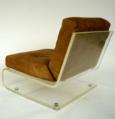 Jacques Charpentier; Lucite and Suede Lounge Chair, c1970.