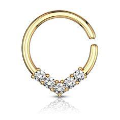 V shaped bendable cut ring steel Piercings, Daith Piercing, Septum Ring, Hoop Earrings, Brass, Stone, Diamond, Gold, Jewelry